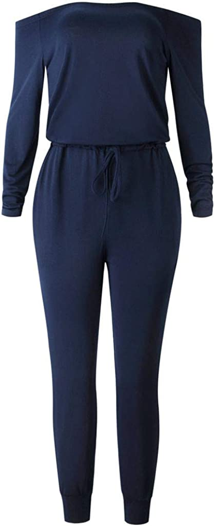LiLiMeng 2019 New Women Pure Color Off Cold Shoulder Pocket V Neck Long Sleeve Rompers Jumpsuit Playsuit