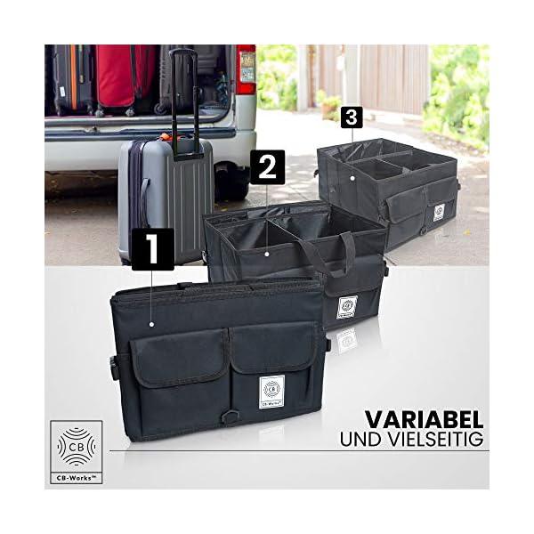 512cbx 19lL CB-WORKS Kofferraum Organizer Faltbare Auto Tasche, rutschfest mit Klett & extra Spanngurte, Zubehör Aufbewahrung…