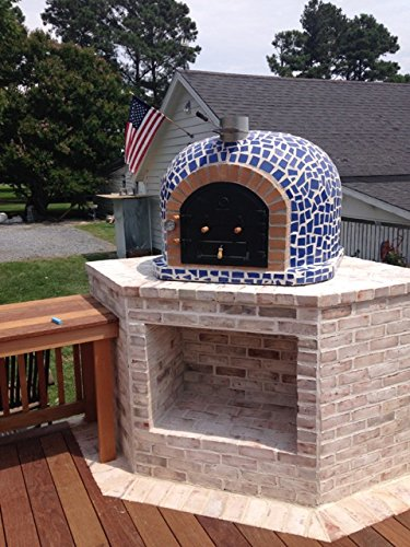 Wood Fired Pizza Oven With Mosaic Tiles U0026 Cast Iron Door (blue)