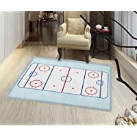 Hockey Non Slip Rugs Ice Hockey Field in Blue Tones and Red Graphic Outline for Sport Events Indoor/Outdoor Area Rug 32x48 Blue Red Pale Blue
