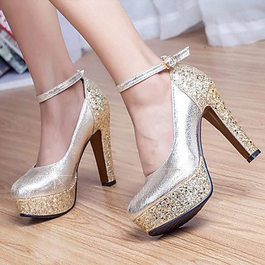 Evening Summer UK5 Wedding Glitter Gold US7 Fall CN38 Women'S Chunky amp;Amp; Heel Casual Heels Spring Silver EU38 Sequin Crystal Party 5 5 Buckle RwqxzE