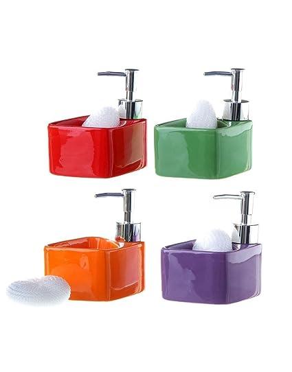 Dispensador de jabón para cocina . Cerámica - Verde