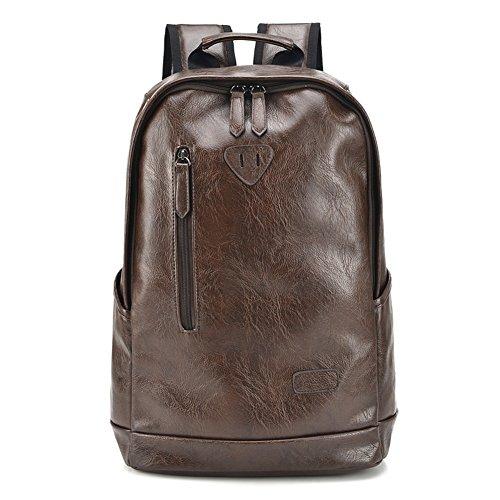 MUMA Daypacks Freizeit Männer Rucksack Rucksack Student Tasche PU Trend Bewegung Reise Laptop Tasche ( Farbe : Brown-1 ) Brown-1