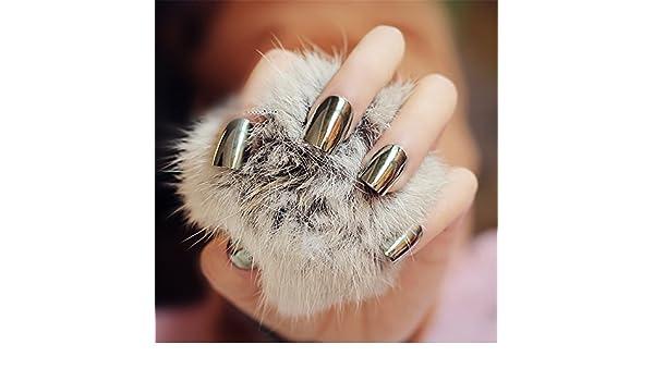 Goldenssy 24 uñas postizas francesas, efecto espejado, Metálico ...