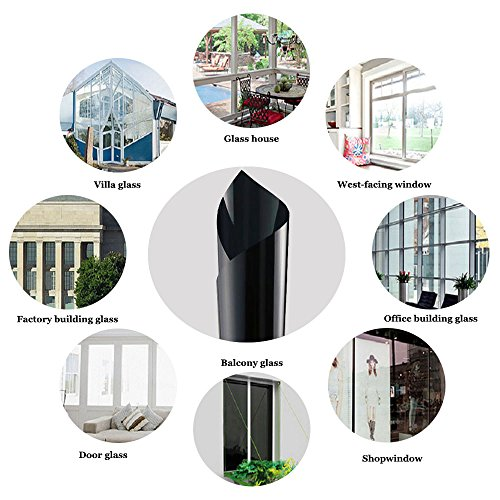 ZEALOTT Heat Rejection Window Glass Tinting Film for Residential and Commercial Uses, Sun Blocker, Solar Guard, 17.7-Inch by 6.5-Feet (45cm x 2m), Light Black by ZEALOTT (Image #5)'
