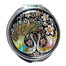 Mother of Pearl Peacock Pair and Flower Design Double Compact Magnifying Makeup Beauty Handbag Pocket Purse Mirror