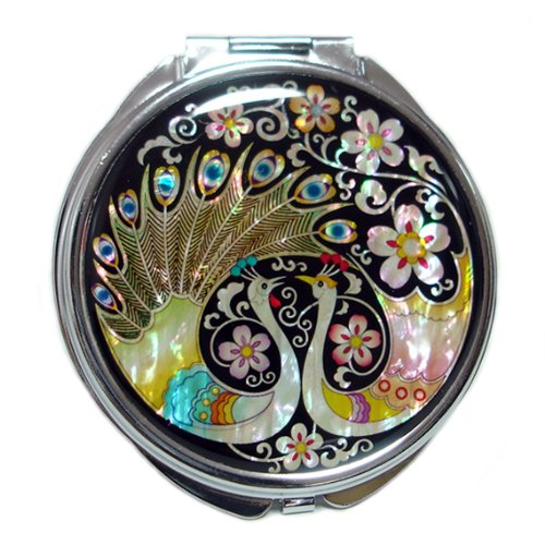 Mother of Pearl Peacock Pair and Flower Design Double Compact Magnifying Makeup Beauty Handbag Pocket Purse Mirror Antique Alive AB-132916
