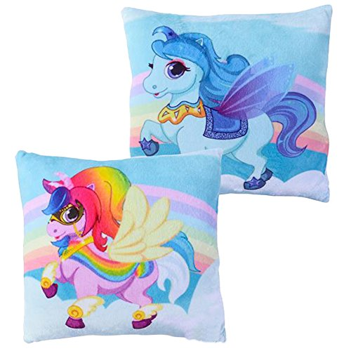 Meet Novelty Unicorn Rainbow Pillow 10 X 10 inches Square Toss Pillow | Character Decorative Small Pillow, Girls Kids Love Them | Soft & Cuddly for Your Bed Sofa Chair or Couch | Set of 2 (Rainbow) by Meet Novelty