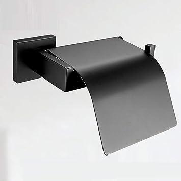 LyMei Porta Papel higiénico, Porta Papel higiénico Flip Cuadrado Negro - Porta Toallas Impermeables - Porta Toallas INOX,Black: Amazon.es: Hogar