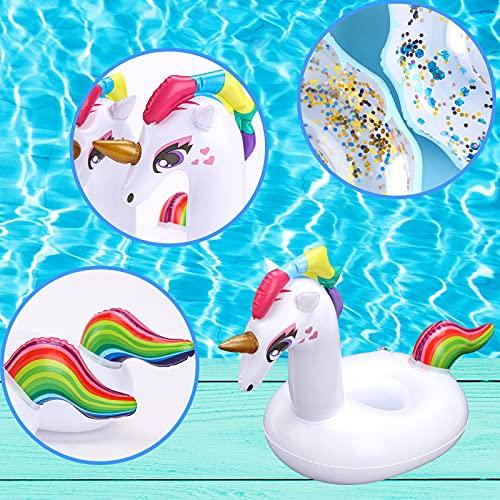 Koogel Aufblasbare Getränkehalter, 5 Stück Becherhalter Inflatable Flaschenhalter Einhorn Wolken mit Glitzer für Pool Badspielzeug Party Deko