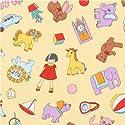 おもちゃの動物やブロックの柄の黄色いコットン生地 Robert Kaufman Dolly Jean