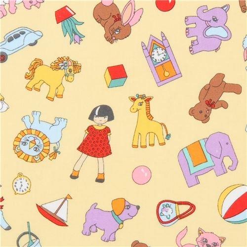 Yellow Robert Kaufman toy animal car blocks fabric Dolly Jean (per 0.5 yard units)