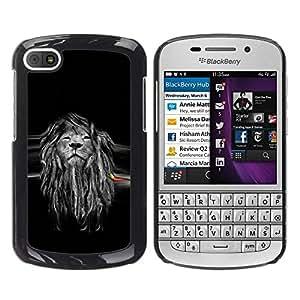 Be Good Phone Accessory // Dura Cáscara cubierta Protectora Caso Carcasa Funda de Protección para BlackBerry Q10 // Beautiful Majestic Lion Rasta
