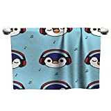 Andasrew Floral Hand Towels Seamless Pattern Penguin with red Headphones and Music Note