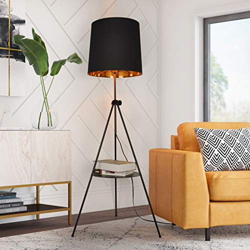 Tripod Floor Lamp with Shelf for Living Room, Bedroom, Adjustable Tall Standing lamp Reading Light with Drum Shade…