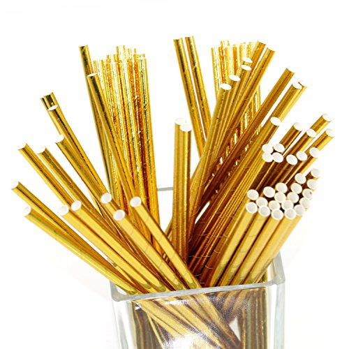 Geeklife 96 Pcs Reusable Paper Straws,100% Biodegradable Drinking Straws,Eco-friendly and Healthy, 7.75 Inches,Golden Yellow ()