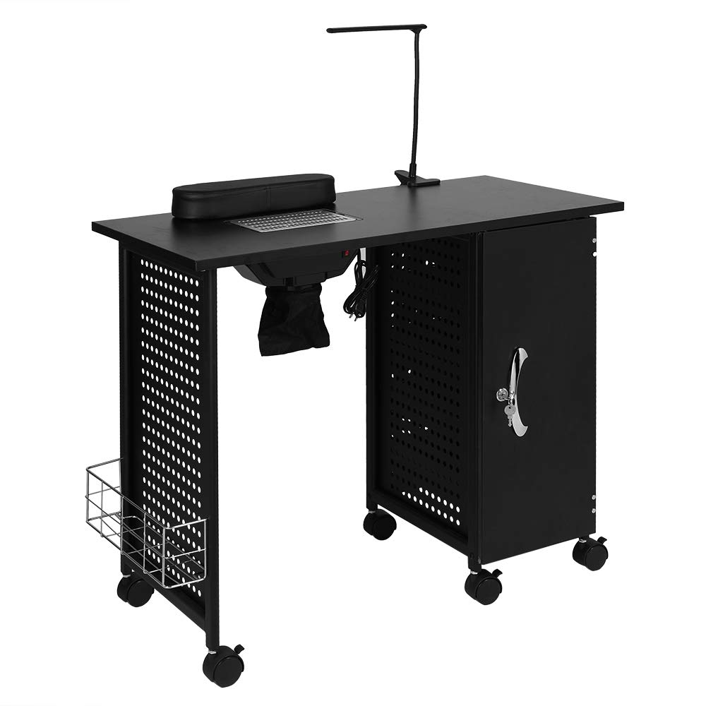Mefeir Manicure Table Nail Beauty Spa Salon Desk Workstation Iron Frame with Electric Downdraft Vent, Cabinet, Side Basket, Wrist Rest, Casters and LED Lamp, Black  by mefeir