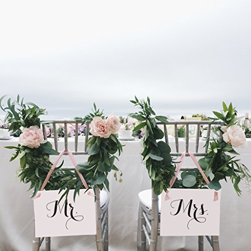 Mr. & Mrs. Signs for Bride and Groom Chairs | Set of 2 Wedding Banners | Blush Pink Ribbon Black Ink Ivory Paper