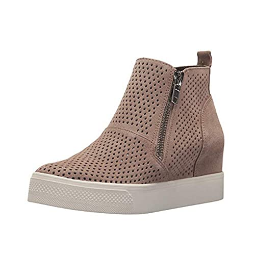 Zapatillas Deportivas de Mujer Cuña Sneakers Plataforma Casual Zapatos para Dama Ante Piel Tacon 5cm Botines Elegante Calzado Moda Negras Rosa Gris 34-43: ...