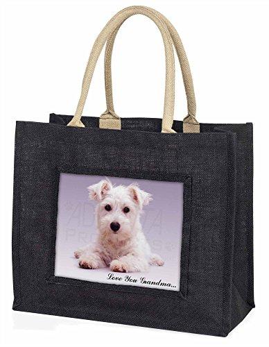 Advanta–Große Einkaufstasche Westie Hund Love You Grandma Große Einkaufstasche Weihnachtsgeschenk Idee, Jute, schwarz, 42x 34,5x 2cm