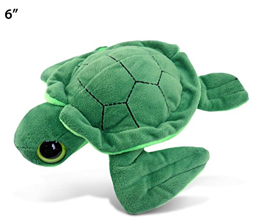 Puzzled Big Eye Green Sea Turtle Plush - Cute Stuffed Beach Animal Plushie 6 Inch Doll Hugging Pillow Pet With Large Eyes - Birthday And Welcome Home Toy Decor Gift - Item 5231 ()