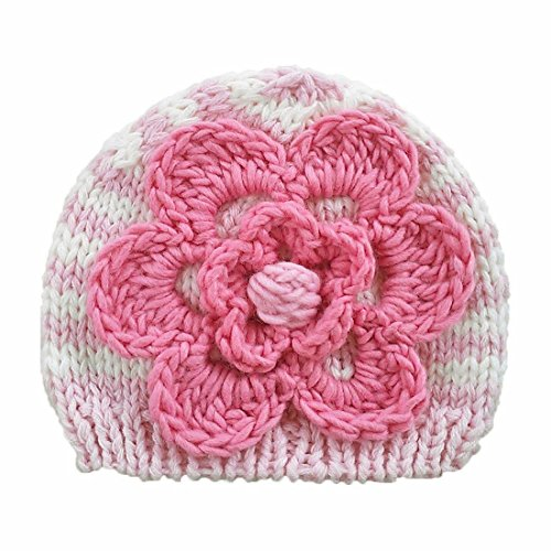 (Huggalugs Baby or Toddler Girls Cozy Pink Striped Flower Beanie Hat L)