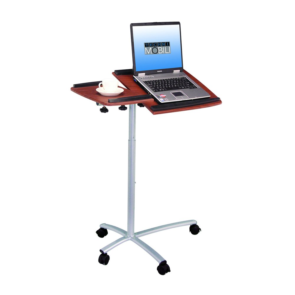Amazon.com : TECHNI MOBILI Sit To Stand Rolling Adjustable Laptop Cart    Mahogany : Computer And Machine Carts : Office Products