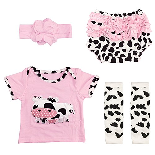 4 Pcs Newborn Baby Outfits Set for Girl Pink with Cow Pattern M(6-12 (Cow Pattern)