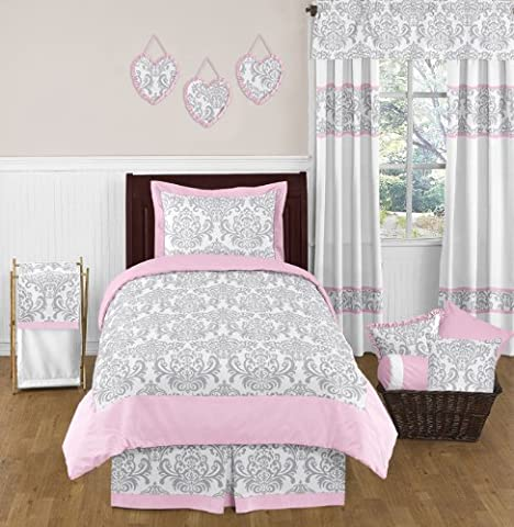Pink and Gray Elizabeth Childrens and Kids Bedding 4 Piece Girls Twin Set - Juvenile Bedding