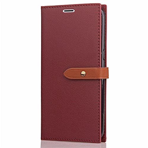 Funda Huawei Honor 6A, CaseLover Flip Folio Slim Cartera Piel PU Carcasa para Honor 6A Estilo Libro Cuero Tapa Cierre Magnético, Función de Soporte, Billetera y Tarjeta Ranura Caso Cubierta Leather Ca Rojo Oscuro