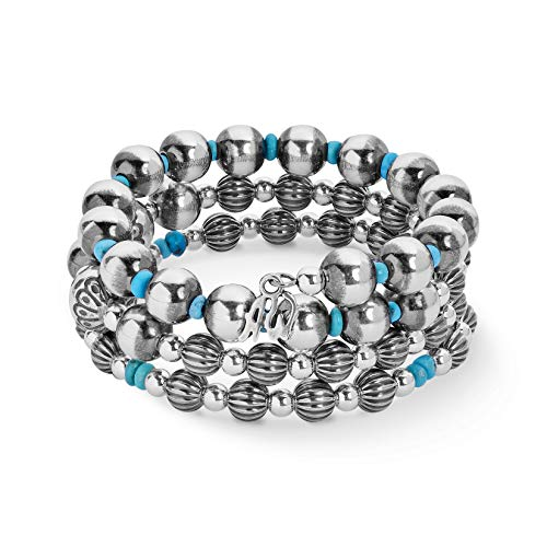 Silver Triple Wrap - American West Sterling Silver Blue Turquoise Bead Triple Wrap Bracelet