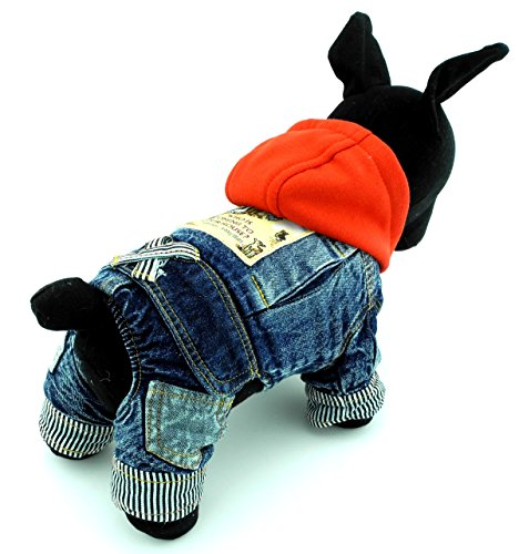 [SELMAI Small Dog Hoodies Winter Coat Fleece Dog Clothes Pattern Denim Jumpsuit for Pet Puppy Cat L] (Cheap Pet Cat Costumes)
