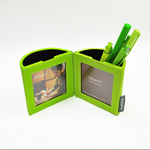 Pen Pencil Holder with Photo Frames | Desk Organizer | Desk Decoration | Multi Function Desk Stationery | Space Saver | 2 Picture Frames | Handicraft | PU Leather & (Green Leather Frame)