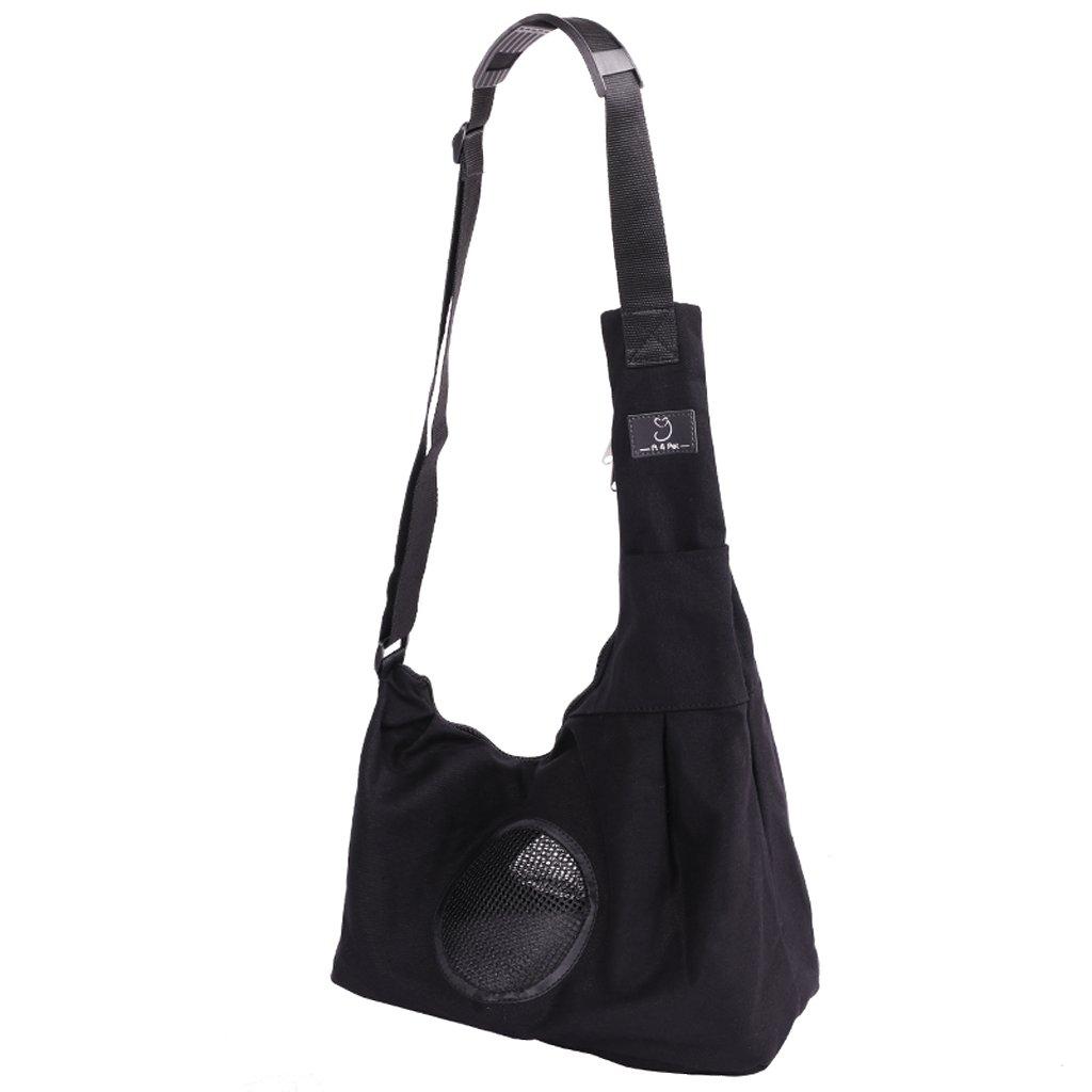 Black 341924CM Black 341924CM SXHDMY-Pet bag Outdoor Pet Backpack Small Pet Backpack Dog Shoulder Bag Canvas Bag 34x19x24cm (color   Black, Size   34  19  24CM)