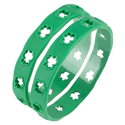 "1 Dozen 8"" Shamrock Rubber Bangle Bracelets, St Patrick's Day Party Favor Set, Gifts, Toy Novelty Assortment"