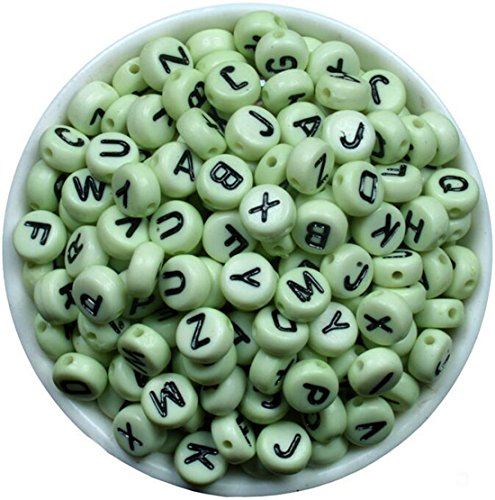 Izasky Pony Beads Letters 6mm - 7mm Mixed Color Alphabet/Letters Flat Round Pony Beads Making Bracelets, Necklaces, Key Chains and Kids Jewelry (Circular 7mm, Green - Black ()