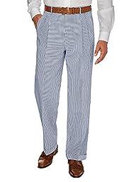 Paul Fredrick Men\'s Navy Stripe Cotton Seersucker Pleated Suit Pant Navy 42