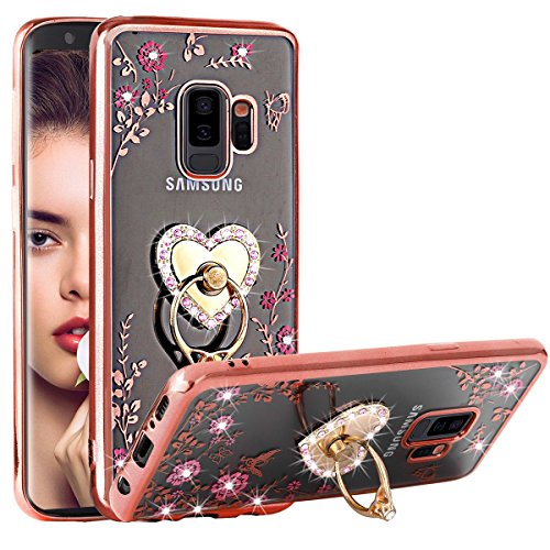 - Galaxy S9 Plus Case,SQMCase Glitter Diamond Floral Butterfly Secret Garden Design Crystal Soft TPU Case with Detachable Heart-Shaped Finger Ring Grip Kickstand for Samsung Galaxy S9 Plus(Rose Gold)