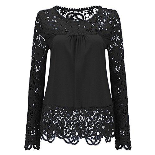 Tirahse Fashionable Womens Lace Shoulder Long Sleeve Blouse T Shirt Casual Lace Tops, Black - Ny Long Outlet Island