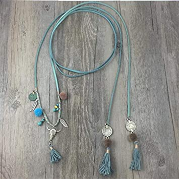 Davitu New Personalized Handmade Popular Jewelry Supplier Unique Boho Leather Cord Chain Long Necklace headhand Metal Color: Color 1