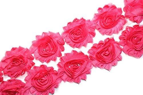 (28 pieces) JLIKA Hot Pink Shabby Chiffon Fabric Flowers 2.5