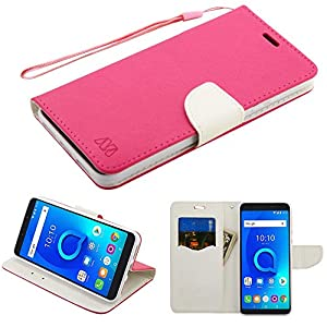 LF 4 in 1 Bundle - Premium PU Leather Flip Wallet Credit Card Cover Case, Stylus, Screen Protector & Wiper for Alcatel One Touch Fierce 2 7040T, (Tracfone / Net10) Pop Icon A564C (Wallet Pink)