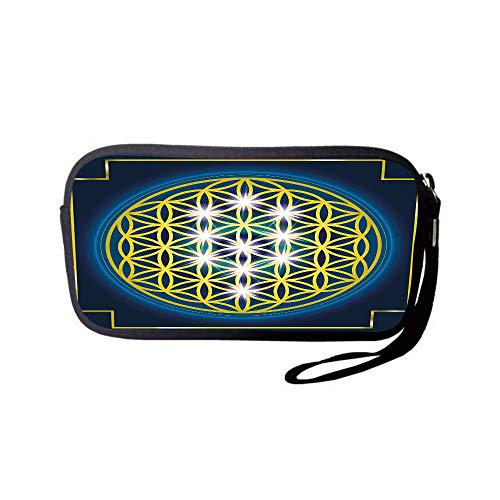 Neoprene Wristlet Wallet Bag,Coin Pouch,Abstract,Flower of Life in Internal Spirals with Vibrant Spots Belief Tradition Design Decorative,Indigo Yellow,for Women and Kids