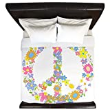 King Duvet Cover Floral Peace Symbol Sign