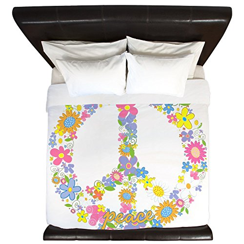 King Duvet Cover Floral Peace Symbol Sign by Royal Lion