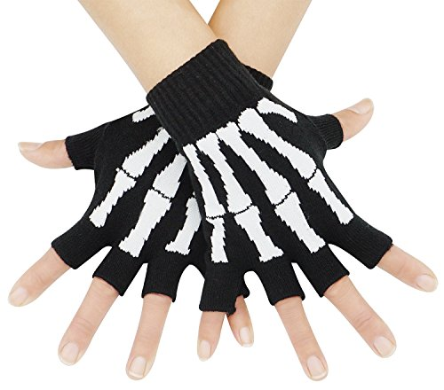 Unisex Stretchy Fingerless Hand Warmer Skeleton Gloves -