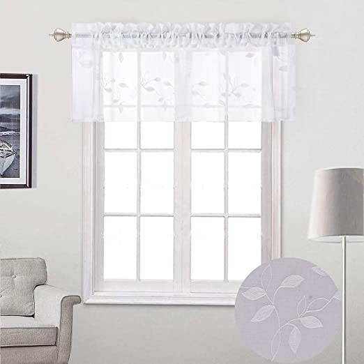 Embroidered Tier Voile Valance Window Sheer Curtains for Small Window Decor