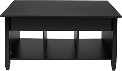 Doolland Lift Top Coffee Table Modern Furniture Hidden Compartment and Lift Tabletop Black