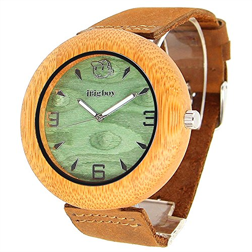 Original Factory Handmade Bamboo Wooden Watch With Genuine Leather Strap Band Japanese Quartz Movement Wooden Watches For Men  Luminous Watches