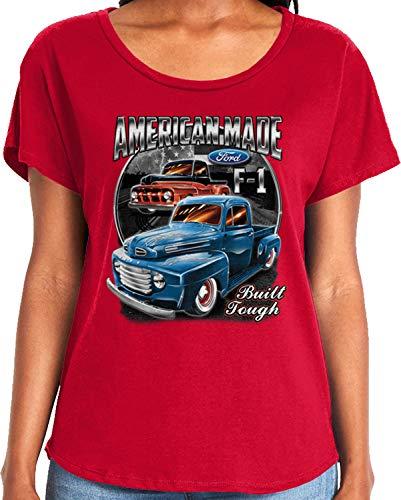 Amdesco Ladies Ford Classic Trucks F-1 Dolman T-Shirt, Red 2XL